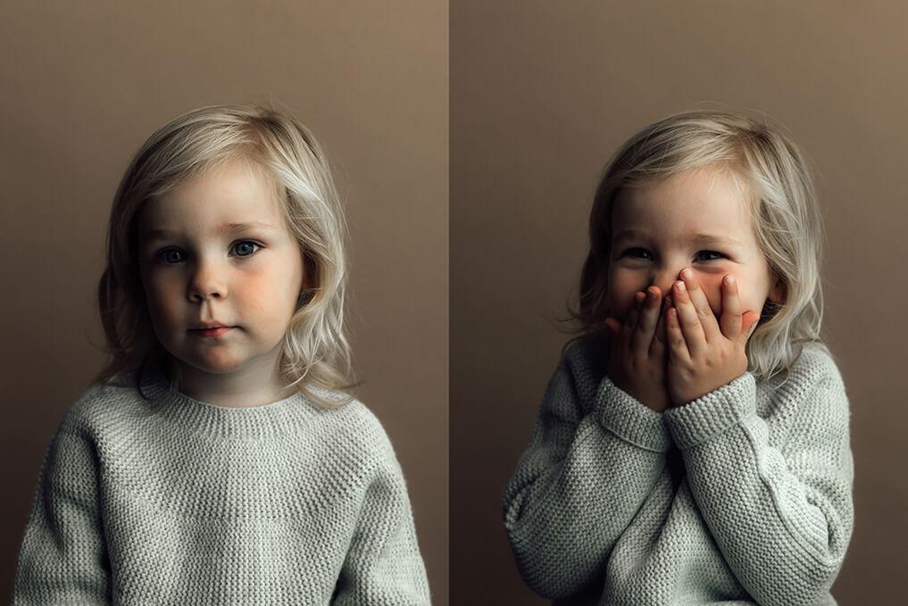 kinderportret bruine achtergrond